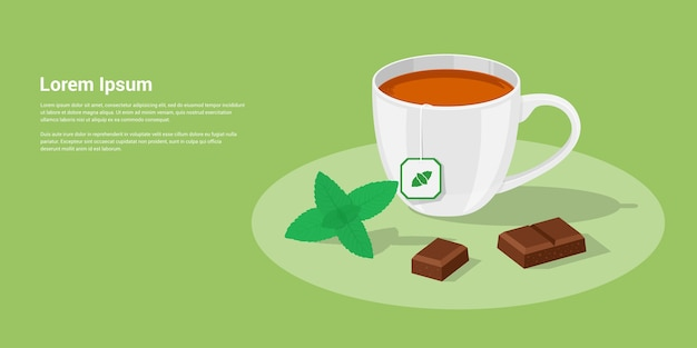 Picture of a cup of tea with chocolate pieces and mint leaves,  style illustration