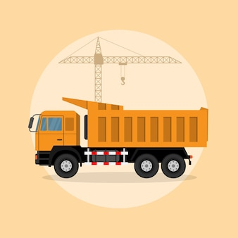 Picture of a dump truck with lifting crane on background,  style illustration
