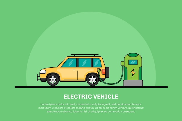 Picture of electric car charging at charging station, electromobility concept, eco cars  line banner