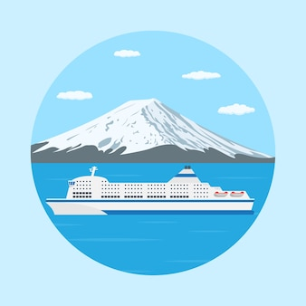 Picture of a ferry boat in front of big mountain,  style illustration