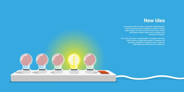 Picture of five lightbulbs with brains inside, new idea concept,  style illustration