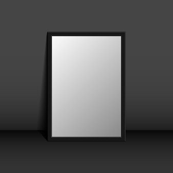 Picture frame on a black wall 3d background design for your content