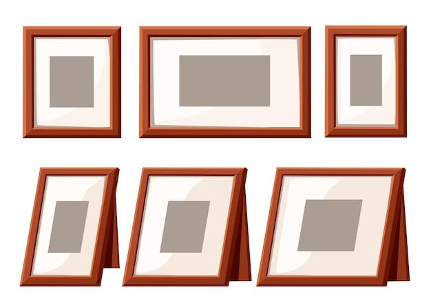 Коллекция рамок для фотографий. настенный каркас и каркас стола. шаблон для фото, дизайн в винтажном стиле. плоский рисунок, изолированные на белом фоне.