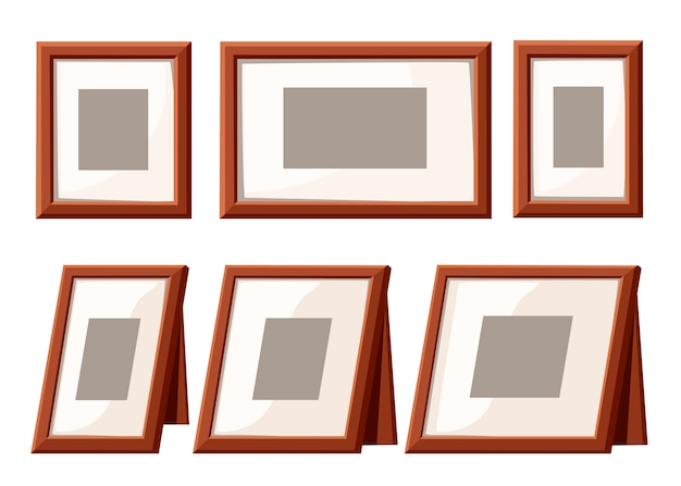 Picture frame collection. wall frame and table frame. template for photo, vintage style design. flat illustration isolated on white background.