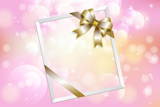 Picture frame and ribbon on colorful bokeh background