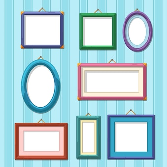 Picture frame set on wall. flat photo frames   illustration