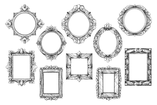 Picture frame sketch illustration