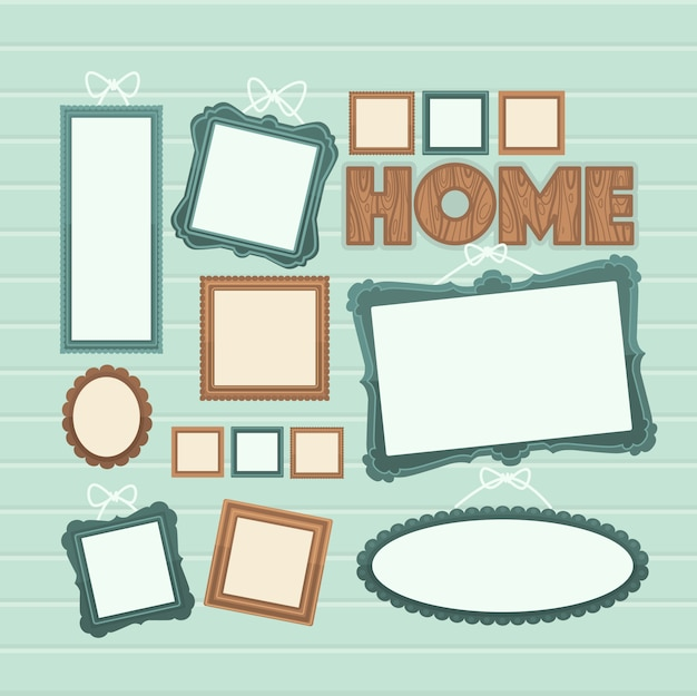 Picture frame vector. photo art gallery composition