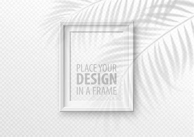 Picture frame on white tropical wall