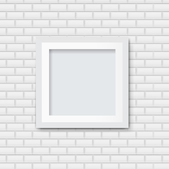 Picture frame with white brick background