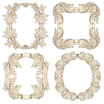 Picture frames in baroque antique style. engraving retro frames.