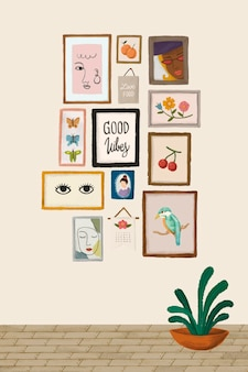 Picture frames on a beige wall sketch style vector