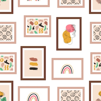 Picture frames hanging on the wall seamless pattern