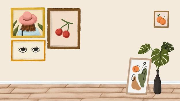 Рамы для картин на бежевой стене в стиле эскиза