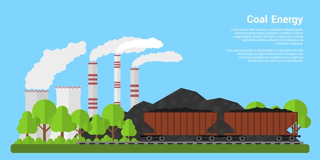 Picture of freight carriages filled with coal with coal hills and coal-fired power plant on background,  style banner, coal industre, coal energy concept