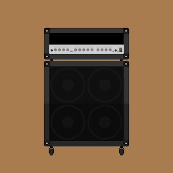 Picture of guitar amplifyer with cabinet speaker,  style illustration