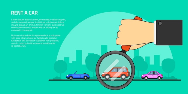Picture of a human hand holding magnifying glass and number of cars, car selection, rent, buy a car concept banner,