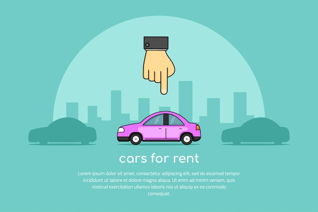 Picture of a human hand pointing to a car, car selection, rent a car concept banner,