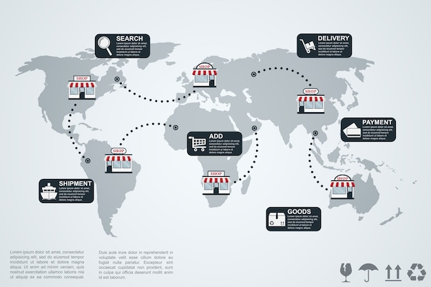 Picture of infographic template with world map, shops and icons, e-commerce concept