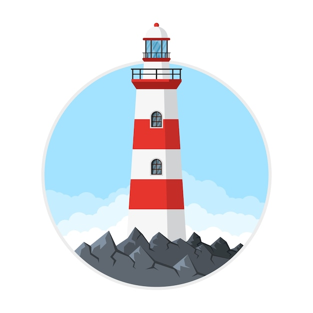 Picture of lighthouse with rocks and clouds,