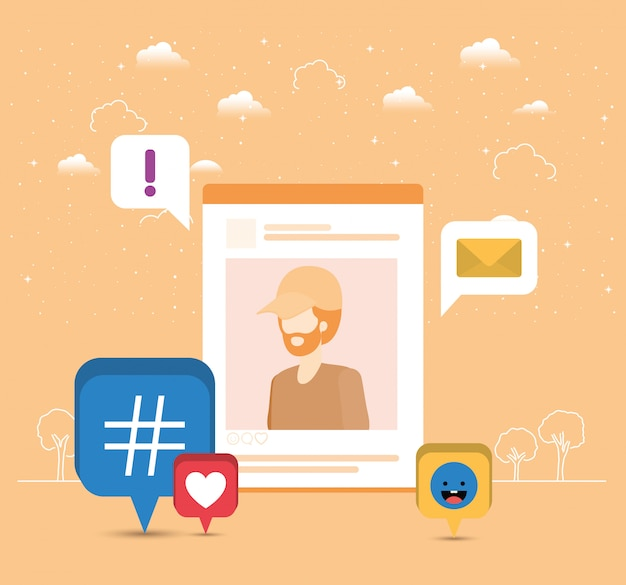 Picture of man in acount with trend set icons