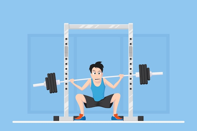 Picture of a man doing squats with barbell on neck back. caricature bodybuilder newbie character design, flat style illustration.