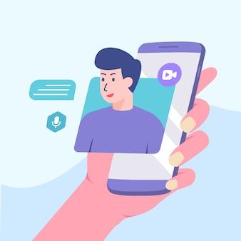スマートフォンの画面で話している画像の男。ビデオ通話のコンセプトモダンなフラット漫画のスタイル