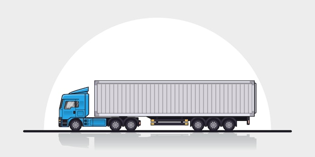 Picture of modern european cargo truck trailer, side view. flat style line art illustration. cargo transportation concept.