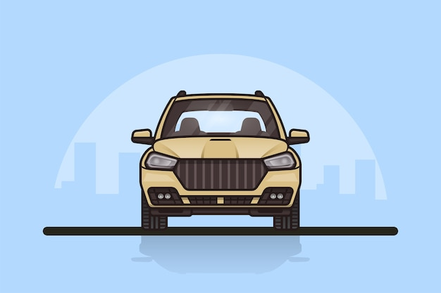 Picture of a modern suv car with big city sillhouette on background. front side view.