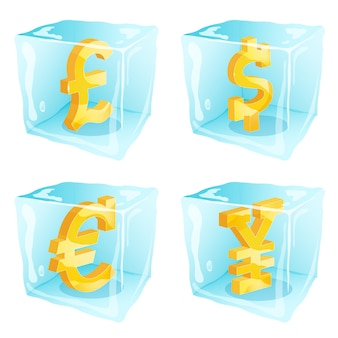 Picture of money signs frozen inside ice cubes