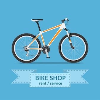 Picture of a mountain bicycle ,  style illustration
