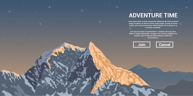 Picture of a mountain peak with stars on background, trekking and climbing banner concept