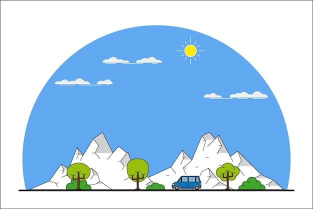 Изображение машины, движущейся впереди по горному пейзажу,