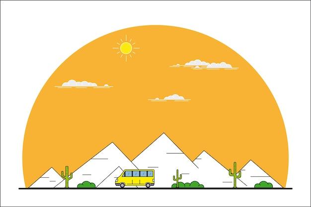 山の風景の前を移動する車の写真、