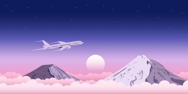 背景、旅行、交通機関、飛行機のチケットの広告コンセプトのwebバナーの山と雲の上を飛んでいる民間飛行機の写真