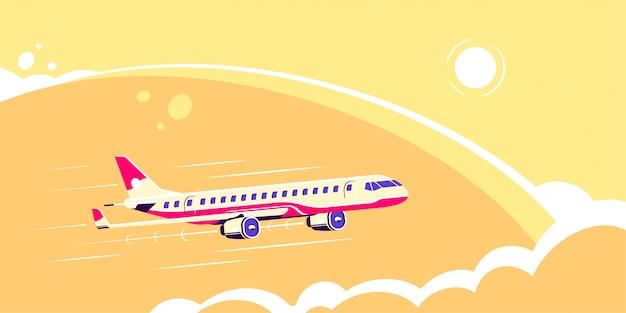 Фотография гражданского самолета с солнцем и облаками на фоне, плоский стиль иллюстрации
