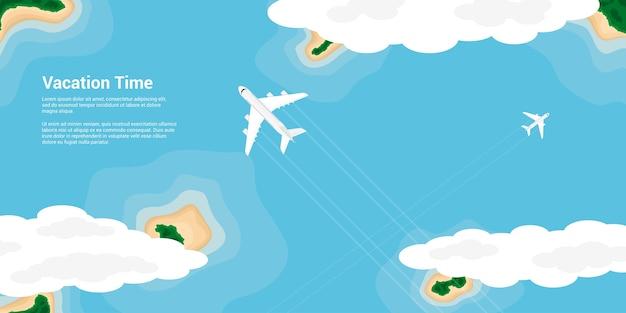 섬, 스타일 일러스트, 비즈니스 배너, 웹 사이트 등을위한 배너, 여행, 휴가, 세계 개념 위를 비행하는 민간 비행기의 그림