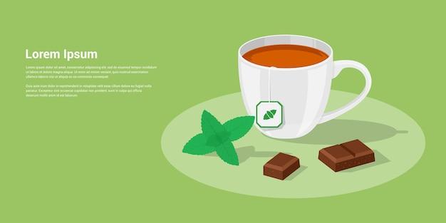 チョコレートピースとミントの葉、スタイルのイラストとお茶のカップの写真