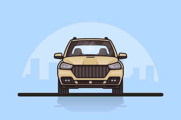 背景に大都市のシルエットが描かれたモダンなsuv車の写真。正面図。