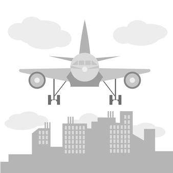 큰 도시 실루엣, 평면 스타일 그림 앞의 비행기 그림