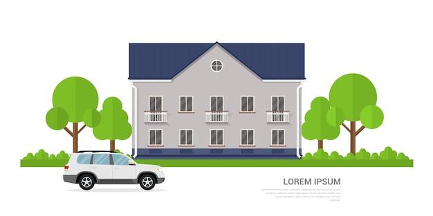 Изображение частного дома и автомобиля перед ним, концепция стилевого баннера