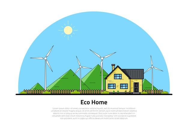 背景に緑の丘がある民家と風力タービンの写真、エコホームのコンセプト、再生可能エネルギー、エコロジー