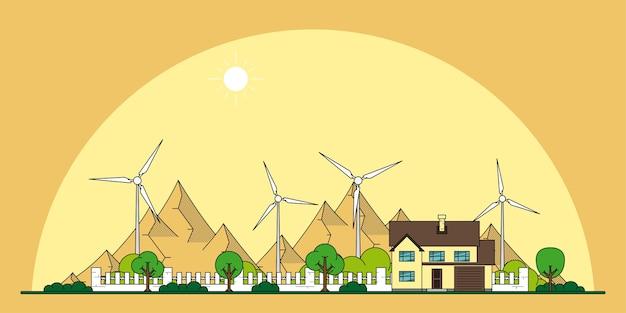 民家と背景に山のある風力タービンの写真、エコホームのラインスタイルのコンセプト、再生可能エネルギー、エコロジー