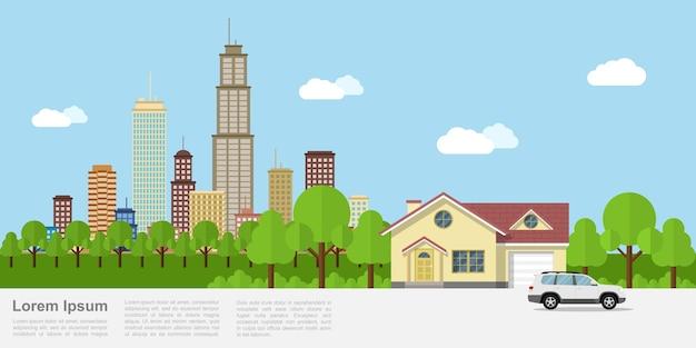 Изображение частного дома с большим городом на фоне, стиль баннера