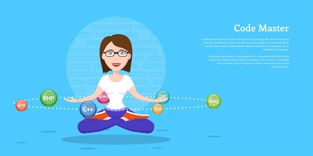 Изображение девушки-программиста sm, бегающей с языками программирования и технологиями, мультипликационный персонаж на белом фоне