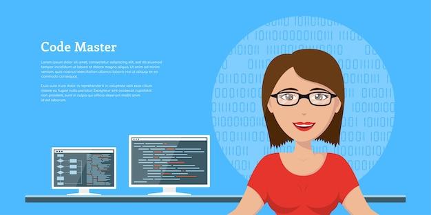 背景にコンピューターモニター、バナーデザイン、コーディング、プログラミング、アプリケーション開発の概念を持つsmプログラマーの女性の写真