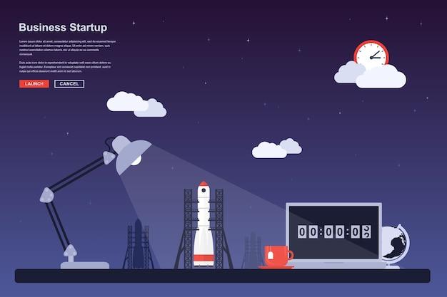 발사 준비가 된 우주 로켓 그림, 사업 시작을위한 스타일 컨셉, 신제품 또는 서비스 출시 테마