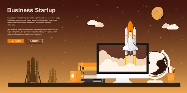 Pc 모니터에서 시작하는 우주 왕복선 그림, 비즈니스 시작을위한 스타일 컨셉, 신제품 또는 서비스 출시