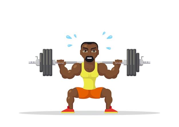 목 뒷면에 바벨과 함께 스쿼트를하고 강한 운동 선수 남자의 그림. 체육관 운동 개념. fla 스타일의 캐릭터 디자인.