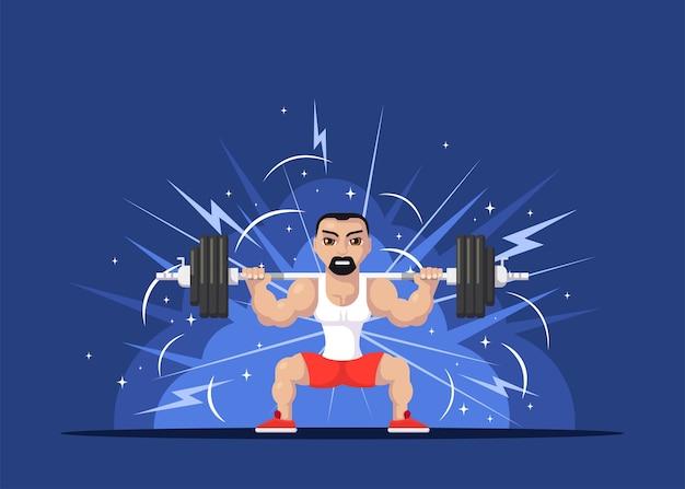목 뒷면에 바벨과 함께 스쿼트를하고 강한 운동 선수 남자의 그림. 체육관 운동 개념. 플랫 스타일의 캐릭터 디자인.